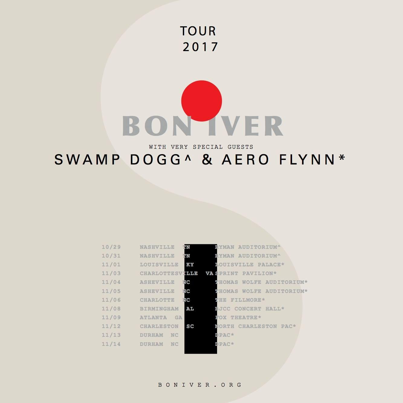 Aero Flynn Bon Iver Fall 2017 Tour Flyer