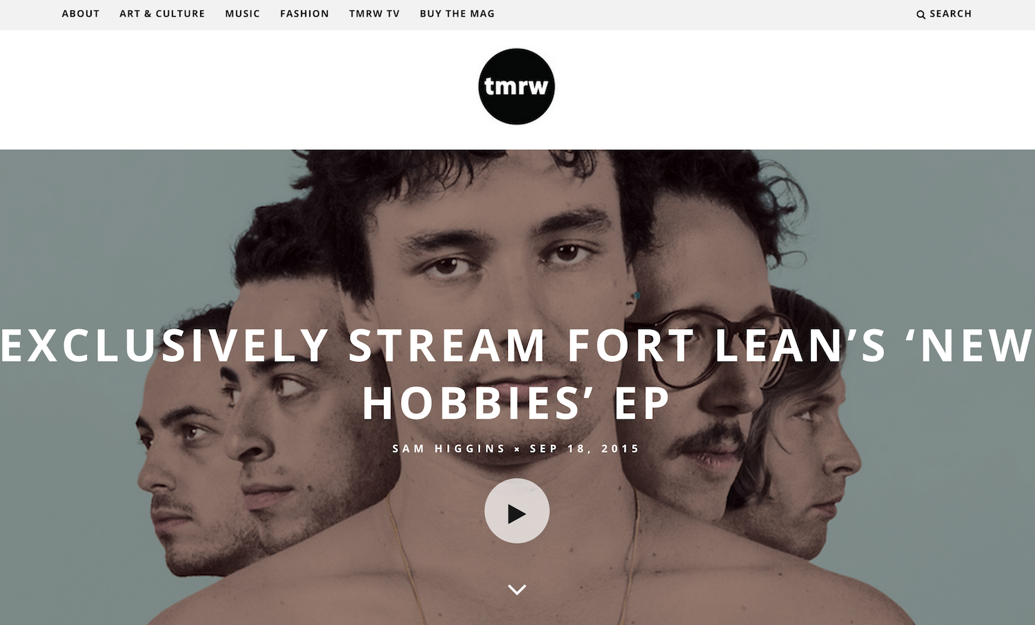 Fort Lean TMRW Magazine New Hobbies EP Premiere